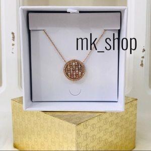 MK Monogram Logo Drop Pendant Necklace